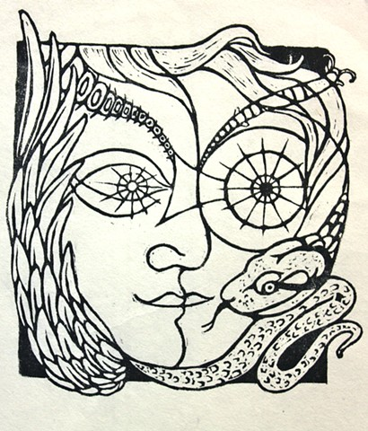 snake, face, wing, woodcut