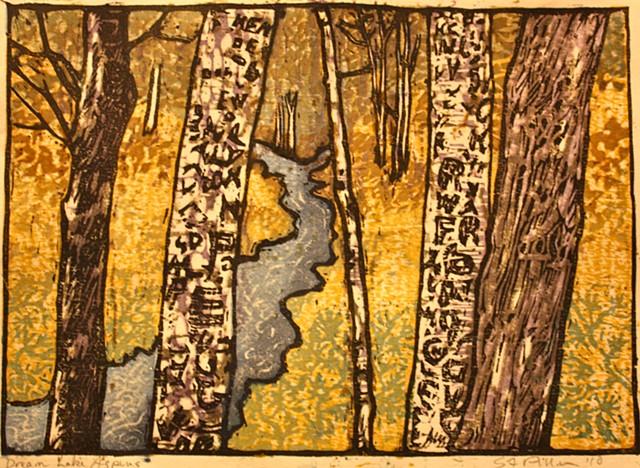 Japanese woodblock print, aspens, graffiti