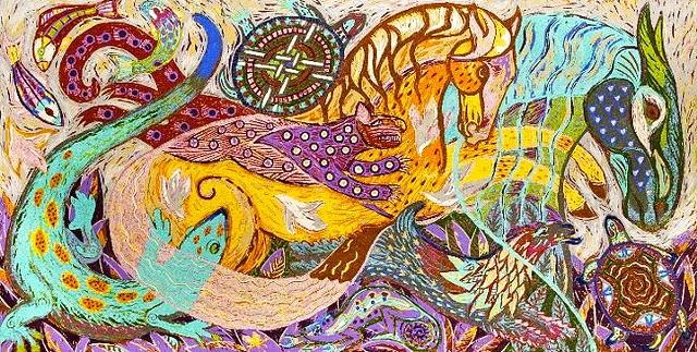 Tumbling pet animals, colorful woodblock print.