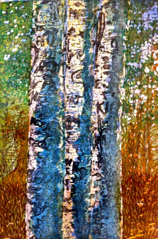 Aspen trees, mica, graffiti,  japanese woodcut