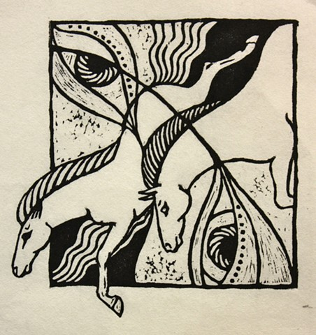 diving horses, eyes, woodcut