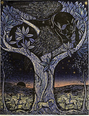 Pegasus, blue evening, horseback riders, tree, sunset, woodcut