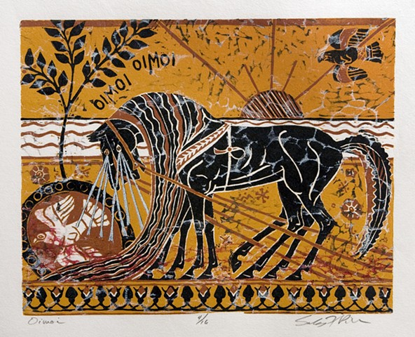 Greek myth, Iliad, horses, woodblock print