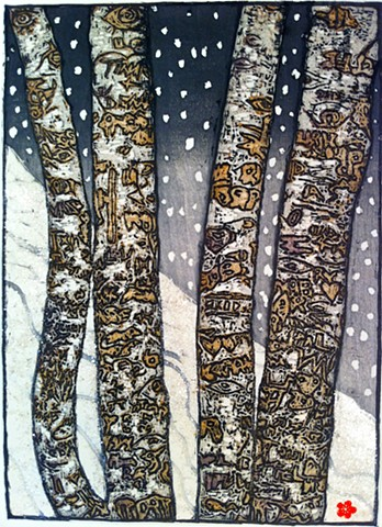 Aspen trees, mica, graffiti, snow, japanese woodcut