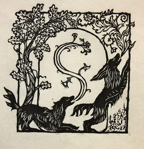 spaniels, woodcut
