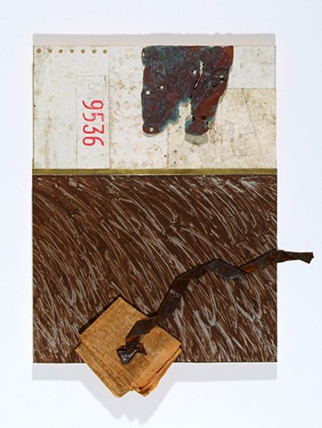 Mixed media collage with found paper and metal, and oil stick.