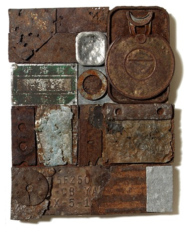 Collage with found metal fragments