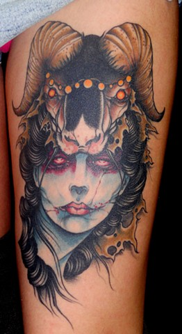 derek noble, tattoo, girl with headdress