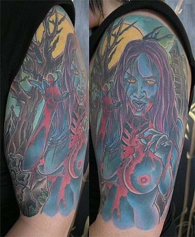 Zombie Woman Tattoo by Adam Tattoos, San Francisco, California