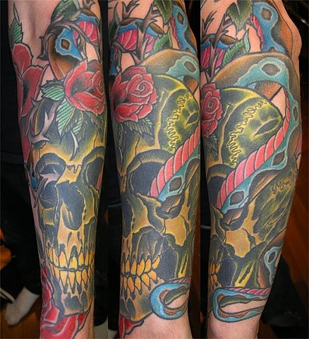 Skull and Snake Tattoo by Adam Tattoos, San Francisco, California
