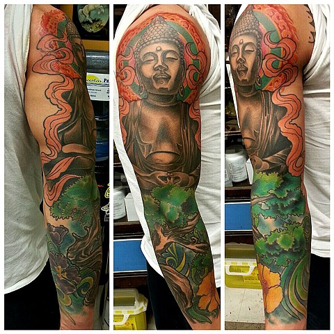 Buddha statue sleeve tattoo by Adam Sky, Rose Gold's Tattoo, San Francisco