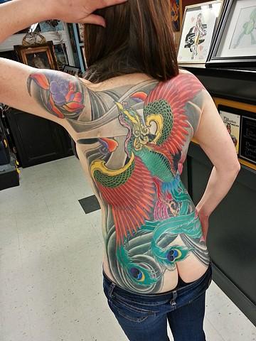 Phoenix tattoo by Adam Sky, Rose Gold's Tattoo, San Francosco