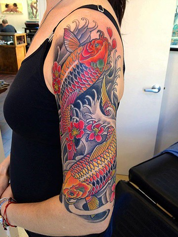 koi fish tattoo half s...