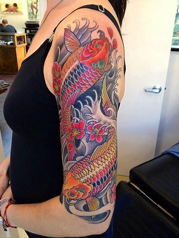 Koi Fish Half Sleeve Tattoo by Adam Tattoos, San Francisco, California