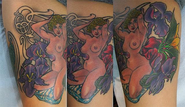 Mucha Woman Tattoo, Rose Gold's Tattoo, San Francisco, California