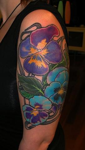 Pansies Tattoo by Adam Tattoos, San Francisco, California