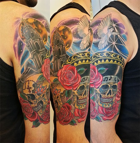 Sugar Skulls by Adam Sky, Rose Gold's Tattoo, San Francisco