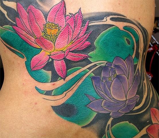 Lotus Flowers Tattoo by Adam Tattoos, San Francisco, California