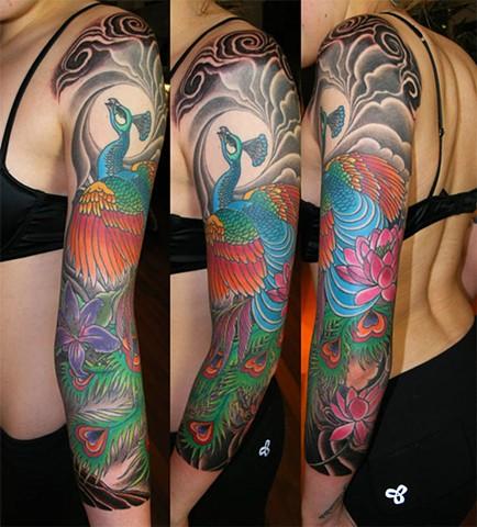 Peacock Sleeve Tattoo by Adam Tattoos, San Francisco, California