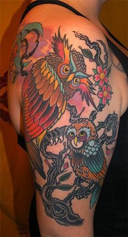 Owl Tattoo by Adam Tattoos, San Francisco, California