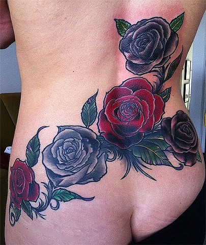 Black and Red Roses Tattoo, Rose Gold's Tattoo, San Francisco, California