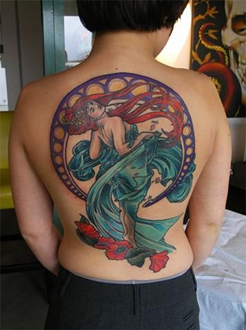 Mucha Woman Tattoo by Adam Tattoos, San Francisco, California