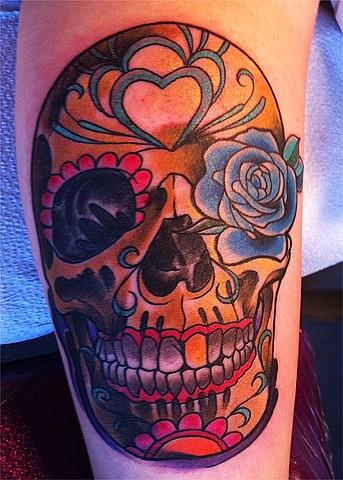 Gold Sugar Skull Tattoo by Adam Tattoos, San Francisco, California