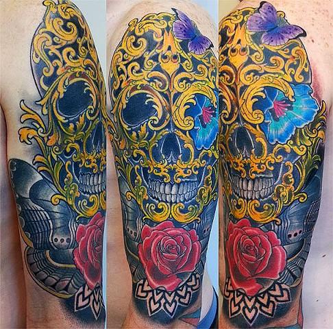 """Morbid Beauty"" by Adam Sky, Rose Gold's Tattoo, San Francisco, CA"