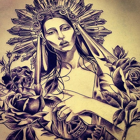 Virgin Mary tattoo design by Adam Tattoos, San Francisco, California