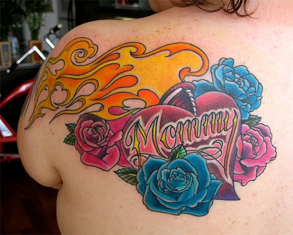 Mommy Heart Tattoo by Adam Sky, San Francisco, California