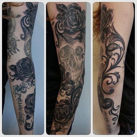 Skull and Roses Tattoo by Adam Tattoos, San Francisco, California
