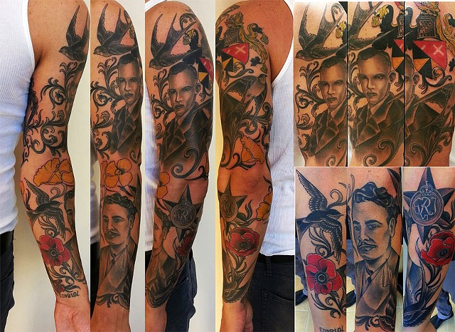 WWII Grandfather portrait sleeve tattoo by Adam Sky, San Francisco, California