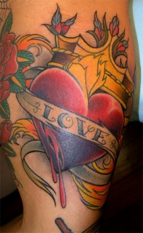 Heart and Crown Tattoo by Adam Sky, San Francisco, California