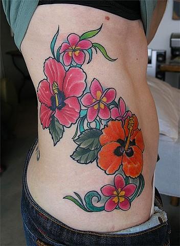 Tropical Flower Tattoo by Adam Tattoos, San Francisco, California