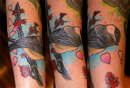 Chickadee Tattoo by Adam Sky, Rose Gold's Tattoo, San Francisco, California