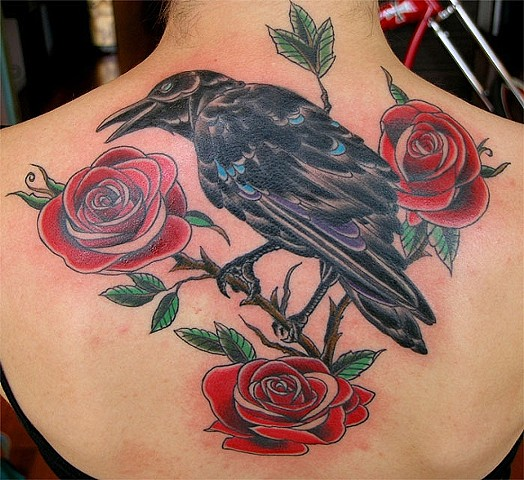 Raven and Roses Tattoo by Adam Tattoos, San Francisco, California