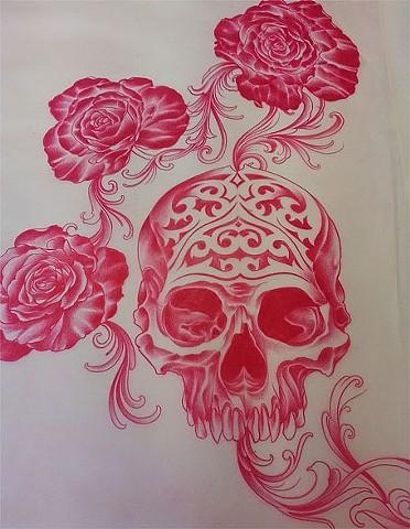 Skull and Roses Tattoo design by Adam Tattoos, San Francisco, California