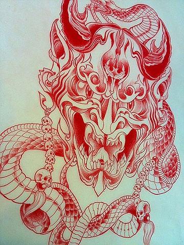 Hannya tattoo design by Adam Tattoos, San Francisco, California