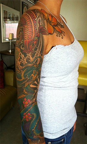 Dragon and Koi Sleeve Tattoo by Adam Tattoos, San Francisco, California