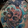 Skull and Waves Tattoo by Adam Tattoos, San Francisco, California