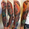 Dragon and Koi Fish Sleeve Tattoo by Adam Sky, Rose Gold's Tattoo, San Francisco, California