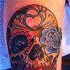 Gold Sugar Skull Tattoo by Adam Tattoos, San Francisco, California