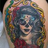 Sugar Skull Woman Tattoo by Adam Tattoos, San Francisco, California