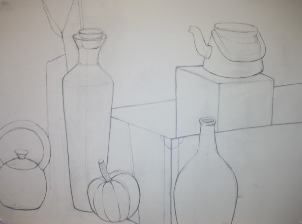 Still life with line