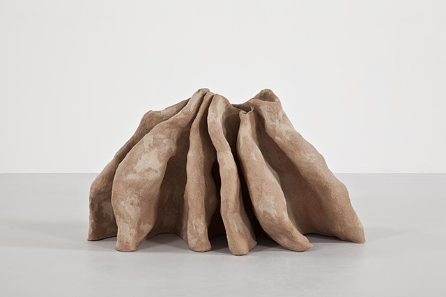 Clay sculpture by Paul March entitled Regeneration Project (The So Called Love Like Anthrax Initiative), resembling folded wall