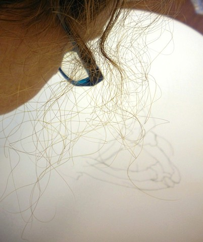 Working on a stitched hair piece, February