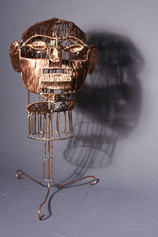 Copper Art Sculpture Head Army Afghanistan