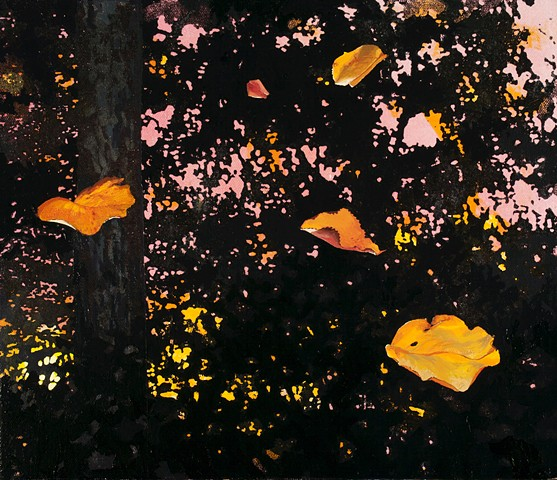 postmodern landscape with photo-derived acrylic and oil painting of leaves by Robert Mullenix