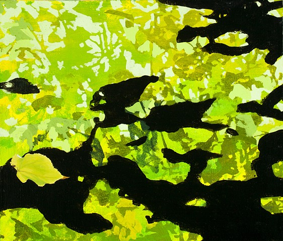 Postmodern landscape painting of leaves in acrylic, oil and photocopy projection by Robert Mullenix