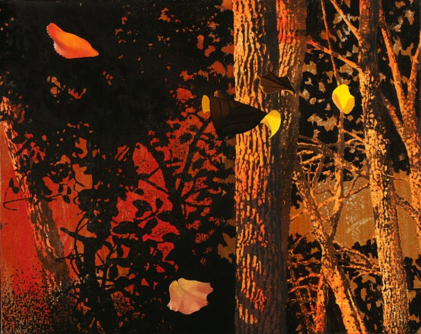 postmodern landscape oil painting of blowing leaves by Robert Mullenix